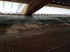 Zaatakowana więźba dachowa przez szkodniki drewna
